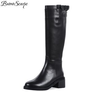 Buono Scarpe Круглый Носок Колено Высокие Сапоги Пряжка Ремень Молния Черный Botas Mujer Квадратный Высокий Каблук Марка Дизайнер Большой Размер Обуви