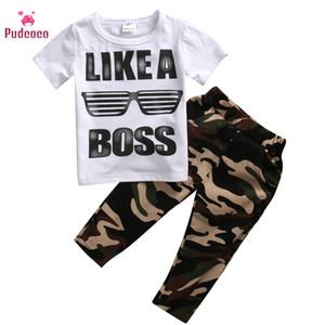 Pudcoco Brand Boy Sets 2019 Toddler Baby Kids Boys Clothes Set LIKE A BOSS футболка топы камуфляж длинные брюки 2шт детские наряды