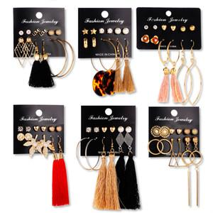 Orecchini geometrica nappa perla foglie d'argento Stud Set Lady placcato oro orecchini zampa del cane ananas fiore accessori per le donne