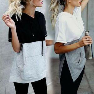 Femmes à capuche manches courtes en coton Pull T-shirt décontracté d'été à manches courtes dames randonnée T-shirts