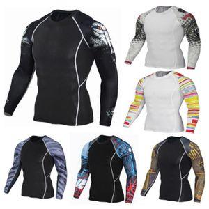 Autumn new men's long sleeve T-shirt Hua Bei sports quick-drying fitness wear running fitness training elastic compression shirt