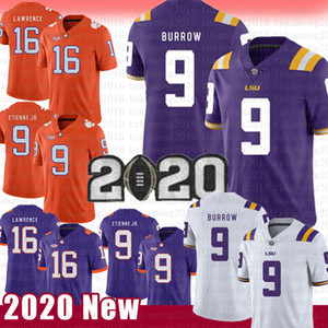 NCAA LSU Tigers 9 Joe Burrow football américain Jersey Clemson Tigers 16 Trevor Lawrence 9 Travis Etienne Jr. Maillots