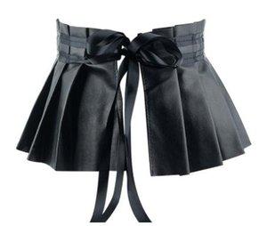 Pieghe vestito dalla fasciatura cinghie larghe per il cinturino elastico Pelle Donna Elegante Foglia vita alta cintura femminile