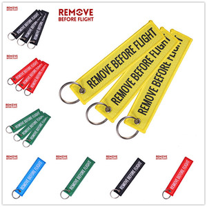 Double Lettres RETIRER AVANT VOL brodé Tag Porte-clés Pendentif Étiquette chaîne de clés Porte-clés toile pour bagages Souvenir Keychain E22101