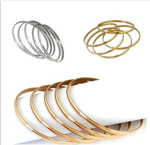 5pcs lot Stainless Steel bangle bracelet 68mm hand Ring for fashion women girls jewelry High Quality silver Rose gold 18K gold
