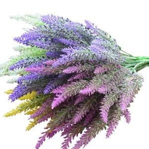 Romântico Provence Artificial Flower DIY Craft Gift Simulação plantas de flores de lavanda 25heads / casamento ramo 36 centímetros Decoração do quarto