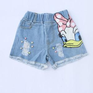 Mode Kinder Loch Denim Shorts Mädchen Pailletten Tupfen Ente Stickerei Jean Shorts Kinder Perlen Doppeltasche Cowboy Shorts F6335