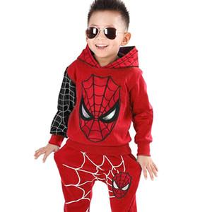 Ropa de los niños del resorte del otoño de 2020 muchachos del niño arropa sistemas con capucha Spider-Man traje ropa de los niños del juego del bebé para Sport Boys
