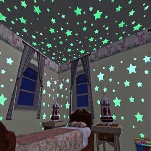 3D Glow Estrellas Wall Stickers 100 piezas / Set luminosos pegatinas de pared para cuarto de los niños Fondo de pantalla luminosos especiales pegatinas de pared