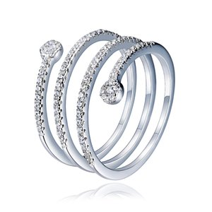 Retrò S925 Silver Spring del serpente di lusso della gemma modo fine apertura dita anello di fidanzamento di bellezza Donne Matrimonio Moglie Natale della famiglia Madre regalo