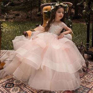 2017 árabe floral de la flor del cordón del vestido de bola de los vestidos del desfile de vestidos infantiles tren largo Beautiful Little Kids Vestido formal 111 FlowerGirl