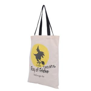 ساحرة هالوين كيس كيس الحلوى هدية نمط حقيبة القطن المحمولة أطفال الأطفال علاج أو خدعة حزب الديكور الطباعة الديكور شبيكة الشعر