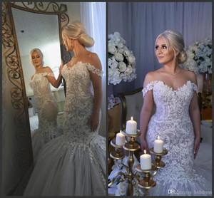 2020 New Graceful Mermaid Wedding Dress Off Shoulder vestido de novia Bridal Gown Crystal Luxury Lace Wedding Dresses Custom Made 731