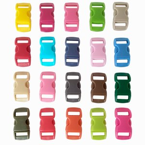 "YOUGLE 100 pcs 3 8"" Mix Color Shackle Contoured Curved Side Release Plastic Buckle for Paracord Bracelet"