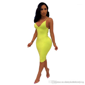 Robes Summer Sexy Dames Skinny Fluorescent Color Club Robes Dress Spaghetti Strap Femme Robe de crayon Femme Boho Designer