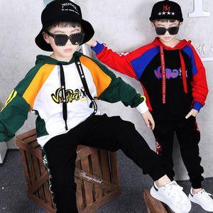 2 Sets Kinderbekleidung Jungen Frühling und Herbst New Sweater mit Kapuze Hosen Mode langärmelige Jacke Hosen Hip-Hop Stil Tanz Sui