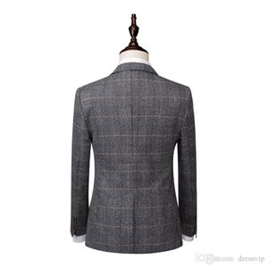 Grey Mens Suits Tweed Wool Check Suits Regular Fit Groom Tuxedos Custom Made Plaid Wedding Tuxedos Formal Dress