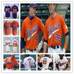 Personalizado Clemson Tigers Baseball qualquer nome de qualquer jovem números homens mulheres costurado Jersey 28 Seth Beer 36 Sheldon Reed 16 Bo Majkowski