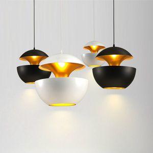 Nordic Designer Siyah / Beyaz Alüminyum Elma Şekli LED Kolye Işıkları Bar Asılı Lamba Luminarias Askıya Alt Lamparas Fikstür