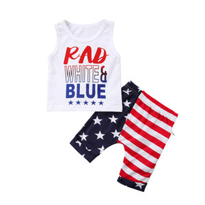 Baby Striped Outfits American Independence Day Brief gedruckt Weste Tops Baby-Kleidung Elastic Splice Shorts Baby-Kind-Kleidung 060428