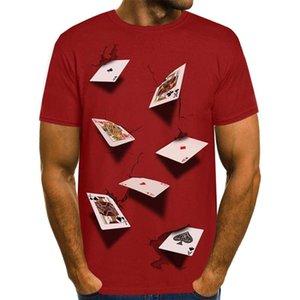 Hommes T-shirts d'été de la mode élégante Casual Top manches courtes T-shirts Designer Poker 3D