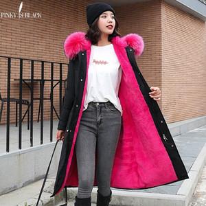 PinkyIsBlack -30 Grados Ropa de nieve Parkas largas Chaqueta de invierno Mujeres Ropa con capucha de piel Forro de piel femenina Abrigo de invierno grueso Mujeres T190831