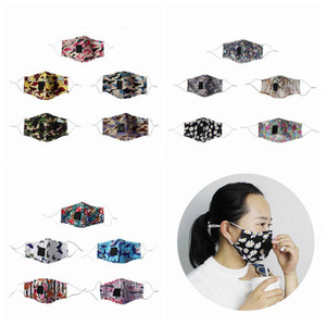 Camouflage Face Mask Washable Reusable Cotton Printing Face Masks Drink Straw Mouth Face Masks 20styles RRA3266