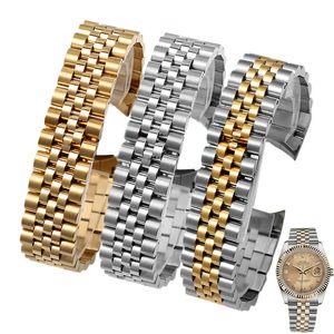 13mm 17mm de 20 mm de alta calidad de pulido de acero inoxidable de oro de alta calidad + pulseras de correa de la correa de la banda de reloj de extremo curvado para Rolex DateJust