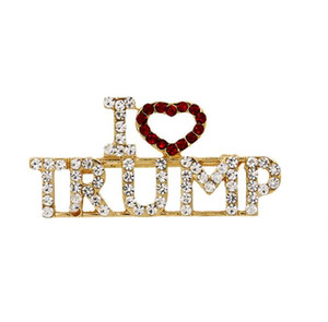 Cristal Trump Broche strass coeur rouge Glitter Brooches Lettre « I Love Trump » Pin Femmes Filles Manteau Robe Bijoux Party Favor GGA3143-6