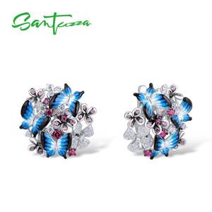 Santuzza Pendientes de plata para mujeres 925 Pendientes de plata esterlina Cubic Zirconia delicado azul mariposa joyería de moda esmalte T7190617