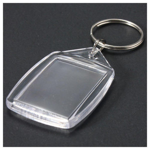 50 Pcs Clear Acrylic Plastic Blank Keyings إدراج جواز السفر Photo Keychain Keyfobs Keychian Key Chain Ring