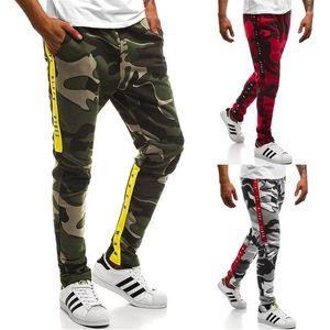 Брюки весна спортивные 19ss буквы полоску повседневный Jogger брюки Мужские камуфляж дизайнер