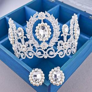 Barroco 2019 reina de lujo nupcial coronas aretes conjunto diamante tiaras princesa corona boda tiaras tocado joyería del partido