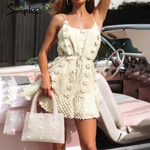 Simplee las mujeres elegantes de la flor del bordado de espagueti atractivo del vestido corto verano de la correa vestido de tirantes de encaje sólida de hasta vestimenta casual femenina 2019