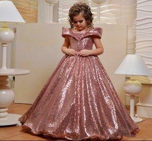 로즈 골드 장식 조각 꽃 소녀 드레스 어깨 캡 슬리브 영성체 드레스 맞춤 제작 여자 선발 대회 가운 오프 결혼식