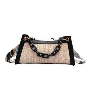 Casual Small Shoulder Crossbody Bag for Women Straw Woven Chain Totes Purse Female Silk Scarf Elegant Rattan Messenger Pouch