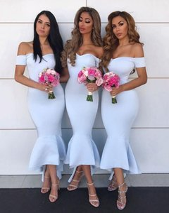 Cheap Off The Shoulder Light Blue Mermaid Maid Of Honor Dresses High Low Sleeveless Brides Dresses Custom Made