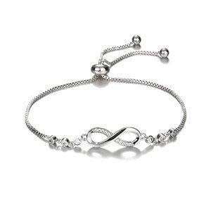 Nouveau Mode Élégant Diamant Charme Bracelet 8 Forme Géométrique Bracelet Infinite Love 925 Siver Femme Bracelet