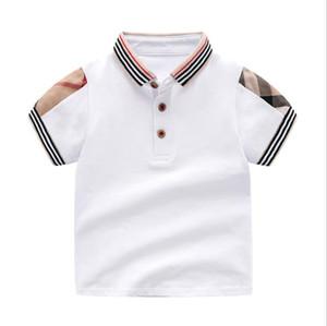 Детская футболка 2019 лето новые стили полосатый воротник с лацканами высокого качества хлопок с коротким рукавом плед футболка детская одежда бесплатная доставка