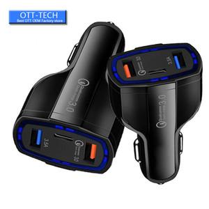 QC3. 0 Type c Quick Charge Car charger 35W 7A 3 Dual Usb Ports автомобильные зарядные устройства автоматический адаптер питания для iphone 11 x samsung ipad android phone gps