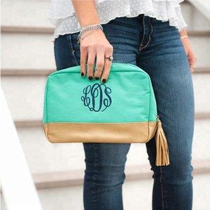 Cabana Cosmetic Bag Personalizado Mint Canvas Borla Bolsas de cosméticos Ajuste de cuero Zippered Top Pouch Maquillaje Cosmetic Bag Con Borla nuevo