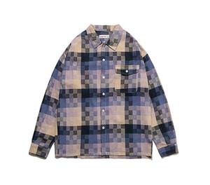 Designer moda giacche modello mosaico Pocket Panelled camicia da uomo Cappotti casual Maschi Abbigliamento Plaid Stampa Mens
