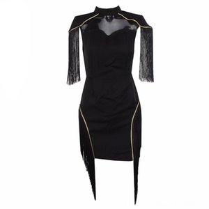 2019 New Sexy Women Bandage Dress Tassel Celebrity Short Sleeve Elegant lack Dress Party Dresses Vestidos Clubwear Festa