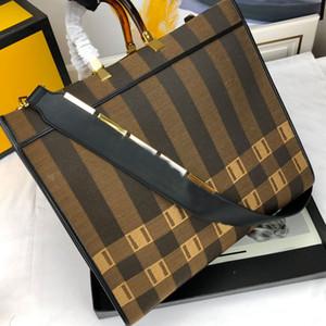 Einkaufstasche der großen Kapazität Paket Leinentaschen Kalbsleder Schulter-Gurt-Schultertasche Hardware Brief Patchwork Farbe Frauen-Einkaufstasche