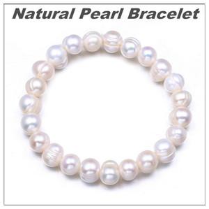 Kadınlar Yıldönümü Takı Hediye Beyaz İnci Mücevher Toptan İçin Doğal İnci Bileklik 9MM Boncuk Bileklik