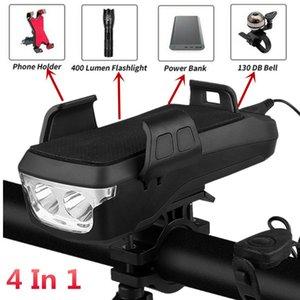 متعدد الوظائف الدراجة الخفيفة USB قابلة للشحن LED رئيس الدراجة مصباح الدراجة القرن حامل الهاتف تجدد powerbank BMX MTB الدراجات الجبهة الضوء