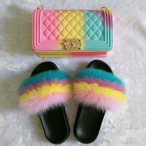 Été fourrure Sandales Chaussons Chaussures Sac Jelly Mode pour dames 2020 fourrure Sandales Diapositives Fluffy Mignon Femmes Ensembles