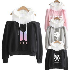 Exo black New Hoodie Herbst-Winter-Seventeen Zweimal trägerlose Schulter Monsta X Got7 Wanna One Sweatshirt Kleidung Weiblich