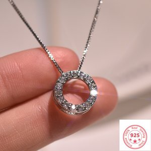 925 colar de cor Pendant Jewelry para Pierscionki Colar Cor Prata Diamond Circle Mulheres completa Pendant de luxo 925