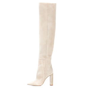 2020 Moda Mulheres Faux Suede Over The Knee High Slouchy Botas Pointy Toe Chunky Heel Slouch Longo Botas Ladies Inverno sapatos de salto